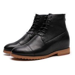 Black Cow Leather Elevator Shoes
