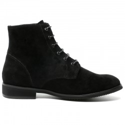 Black Suede Leather Elevator Shoes LUCA