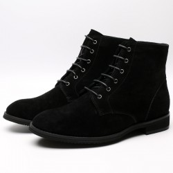 Black Suede Leather Elevator Shoes