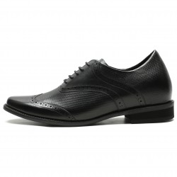 Height increasing shoes with braided leather heelcap