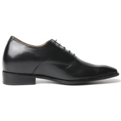 All-black height increasing shoes 2,76 inches