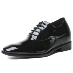Black patent leather elevator shoes