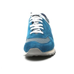 Light Blue suede elevator sport shoes CESARE +2,76 inches