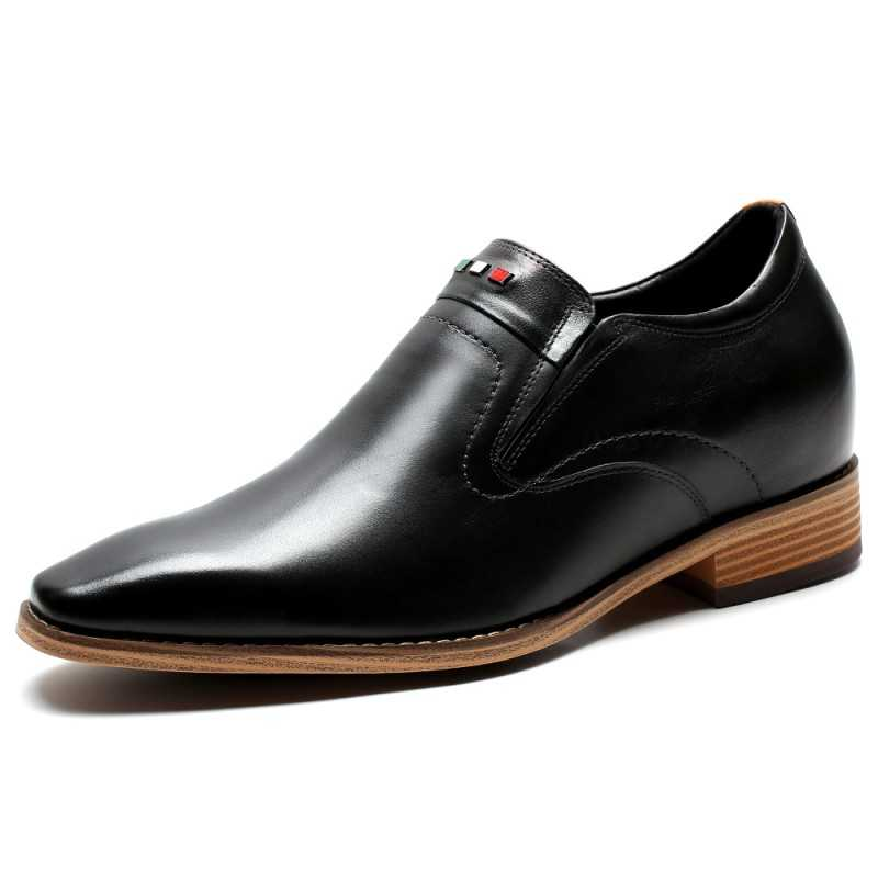 Slip on black leather elevator shoes