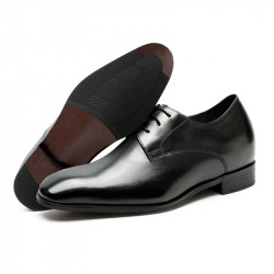 Plain black leather elevator shoes  2,76 inches